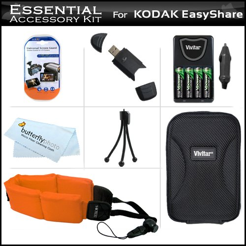 Essential Accessory Kit For Kodak Easyshare Sport C123, C135 Waterproof Digital Camera Includes 4 Aa High Capacity Rechargeable Nimh Batteries And Ac/Dc Rapid Charger + Hard Case + Strap Float + Usb 2.0 Sd Card Reader + Lcd Screen Protectors + More