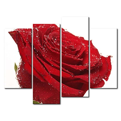 Red 4 Panel Wall Art Painting Wet Red Rose Pictures Prints On Canvas Flower The Picture Decor Oil For Home Modern Decoration Print For Bedroom
