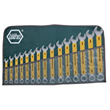 Wiha 50089 Combination Wrenches, Inch, Roll Up Pouch, 15 Piece