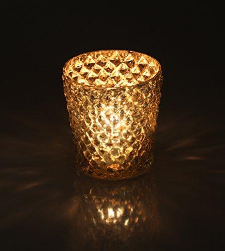 Set of 2 Tealight Holder - Christmas Decorations Ideas - Handmade Glass Tea Light Holder - Decorative Diamond Motif on Mercury Silver Votive Candle Holders - Centerpiece for Home Decor