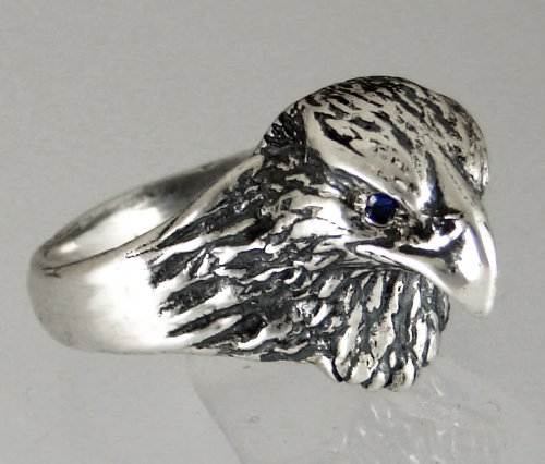 Sterling Silver Hawk's Head Ring Accented with Genuine Sapphire