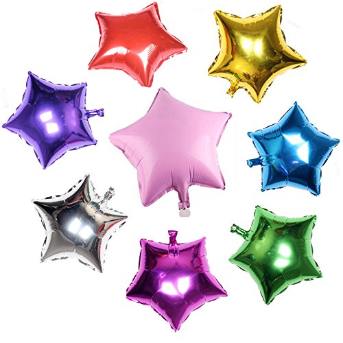 8PCS mixcolor Helium Foil balloons ,Five-Star Star Shape