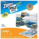 Ziploc Space Bag 10 Bag Space Saver Set Clear Vacuum Seal Bags Airtight & Watertight Seal Sizes Included: M L XL Jumbo