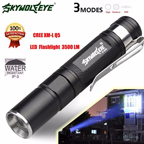 Flashlight,Baomabao Mini 3500LM Zoomable CREE Q5 LED Flashlight 3 Mode Torch Super Bright Light Lamp
