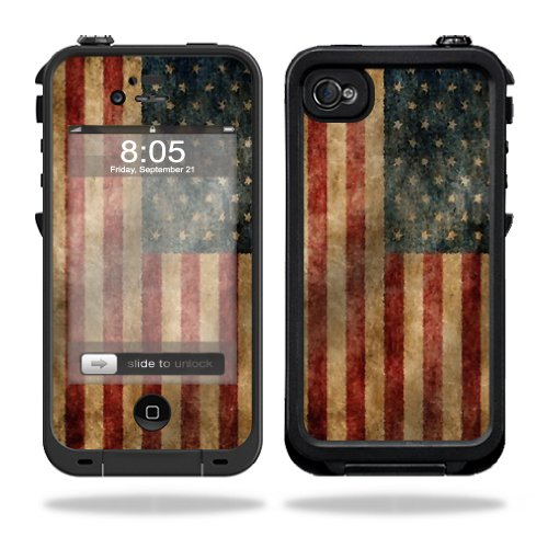 Mightyskins Protective Vinyl Skin Decal Cover for LifeProof iPhone 4 / 4S Case wrap sticker skins Vintage Flag (Iphone 4s Skin Decal compare prices)