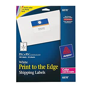 Avery Print-to-the-Edge Shipping Labels for Color Laser Printers and Copiers, 3.75 x 4.75 Inch, Pack of 100 (6878)