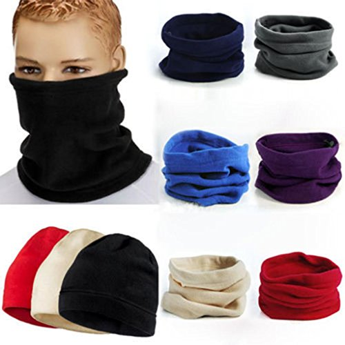 QIMISI MENS LADIES WARMER SNOOD SCARF SKI MOTORBIKE UNISEX POLAR FLEECE NECK MASK