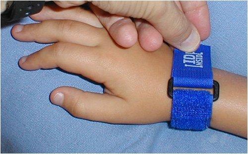 ID-Inside Velcro Child ID Bracelet -- BLUE