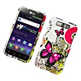 Cell Accessories For Less (TM) LG CONNECT 4G/MS840/Viper 4G/LS840 (Sprint) Rubberized Image Protector Case Two Pink Butterflies 117 - By TheTargetBuys