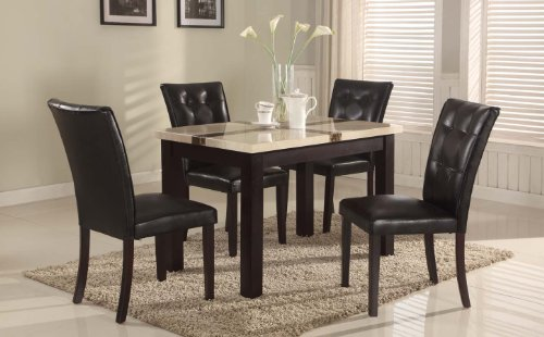 Roundhill Furniture Wana 5-Piece Faux Light Oak Marble Top Dinette Dinning Set, Includes Dining