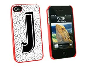 Graphics and More Letter J Initial Sprinkles Black White Snap-On Hard Protective Case for Apple iPhone 4/4S - Non-Retail Packaging - Red