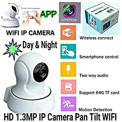 Dr. Camera Rotating IP Camera Wireless IP Camera FULL HD, Night Vision,IR Cut LENS,1.3MP, Motion Detection,2 Way Audio, 1 Year Warranty
