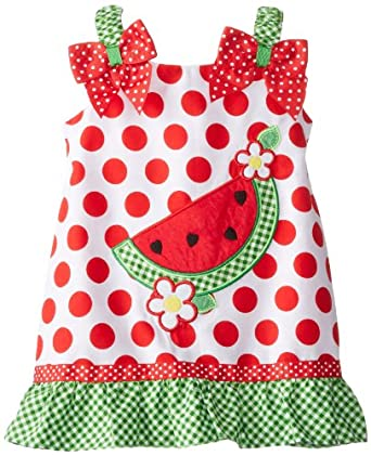Youngland Baby-Girls Infant Watermelon Applique Sundress, White/Green/Red, 24 Months