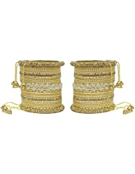 MUCH MORE Ethnic Collection Charming Bangles With Zircons Made Kada For Women Wedding Jewelry - B01KVMS7TM