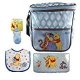 Disney Winnie The Pooh 4-piece Diaper Bag Bundle With Baby Wipes Travel Case, Bib, And Sippy Cup (Blue)