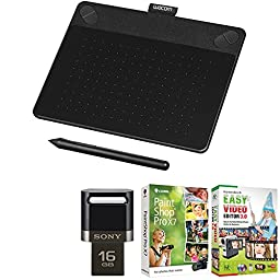 Wacom Intuos Art Pen and Touch Tablet (Small), 16 GB, Black with Corel Paint Shop Pro X7, Honestech Video Editor Lexar and 16 GB USB 3.0 Flash Drive