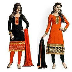 Sky Global Women's Printed Unstitched Regular Wear Salwar Suit Dress Material (Combo pack of 2)(SKY_502_Black)(SKY_503_Orange)