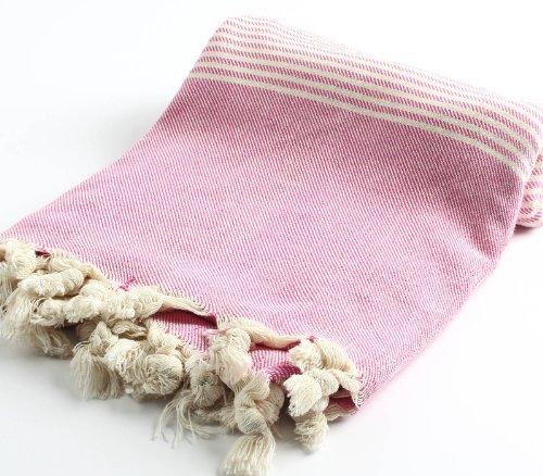 "Hand Loomed Pestemal Striped Turkish Bath Towel 34""X66"" Bath Hamam Sauna Gym Unisex Tm By Cacala ""Pink"""