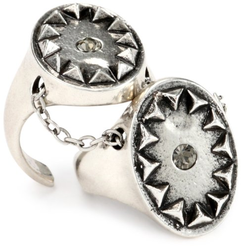 House of Harlow 1960 Silver-Plated Double Metal Sunburst Ring, Size 7