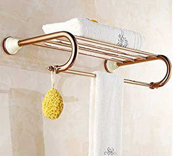 NabothT Rose Gold Bronze, jade Unione placcato oro portasalvietta rack montato a parete portasciugamani asciugamano hardware pensile portasciugamani,un