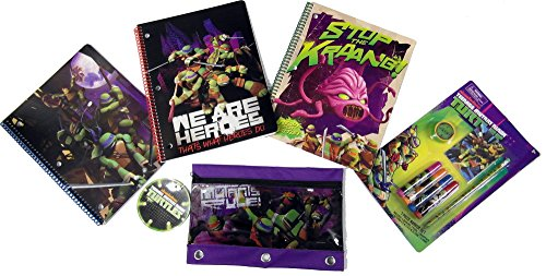 Teenage Mutant Ninja Turtles Value Gift Set for Kids - TNMT - 4 Markers - 1 Pencil - 1 Sharpener - 1 Notepad - 3 Spiral Notebooks - 1 3 Rings Pencil Pouch