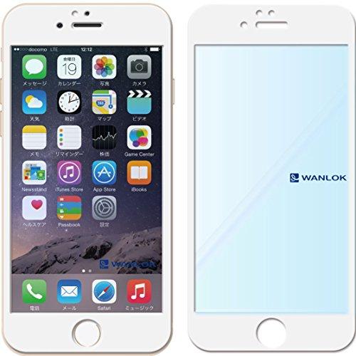 WANLOK 2015 新設計 ぴったりサイズ 全面 フルカバー 日本製 NSG 日本板硝子社国産ガラス採用 高級強化ガラス Apple iPhone 6 (4.7インチ) ホワイト 強化ガラス 液晶保護フィルム 厚さ0.33mm 国産ガラス採用 ガラスフィルム 2.5D 硬度9H ラウンドエッジ加工 大きめサイズ 横幅UP (iPhone 6 4.7inc ホワイト)