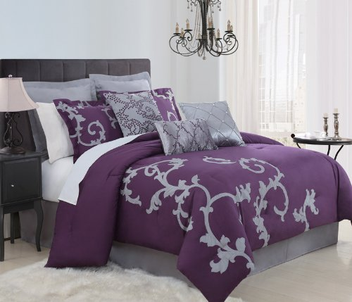 9 Piece Cal King Duchess Plum And Gray Comforter Set front-105320