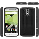 Chevron Back Cover Case For Moto G Plus 4th Gen (Black) [Defender Series Super Protective Back Cover Case For...