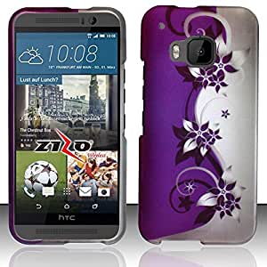 Zizo HTC One M9 Rubberized Design Hard Snap-On Cover - Retail Packaging - Purple/Silver