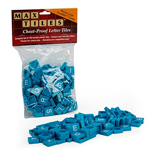 "Scrabble Tiles - Full Set of 100 ""Cheat Proof"" Plastic Tiles (Blue) - Perfect for Professional Use, Scrapbooking or Crafting!"