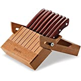 Tramontina 9-Piece Porterhouse Steak Knife Set with Multi-Purpose Folding Hardwood Block, 5-Inch, Red Polywood