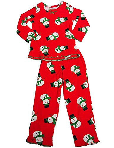Sara's Prints - Little Girls Long Sleeve Snowmen Ruffle Pajamas, Red 38011-4
