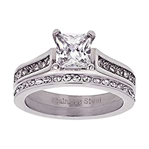 Wedding Ring Set Princess Cut Cubic Zirconia Stainless Steel Women Eternity Guard from FlameReflection
