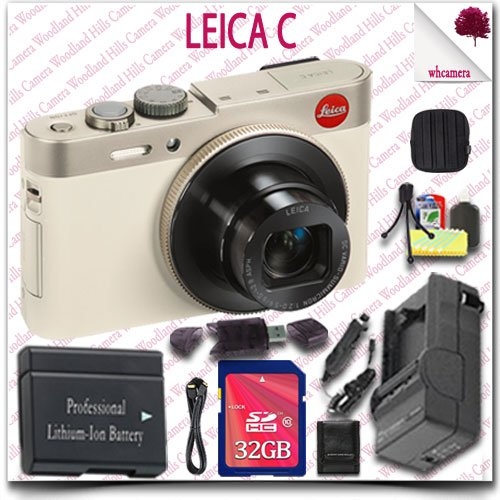 Leica C Cmos Wifi Nfc Digital Camera (Gold 18485) + 32Gb Sdhc Class 10 Card + Hdmi Cable + Soft Camera Case + 12Pc Leica Saver Bundle