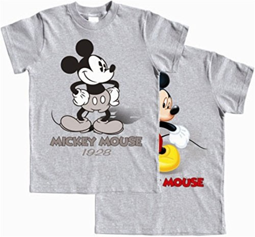 Disney Boys T-Shirt, Mickey Mouse Now & Then, Front & Back Print, Xs (4-5), Grey Heather front-1074046