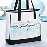 White w/Black & Blue Bridesmaid Tote