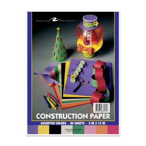 "Roaring Spring Construction Paper. 8 Assorted Colors per pack. 9"" x 12"", 96 Sheets/Pack - 1"