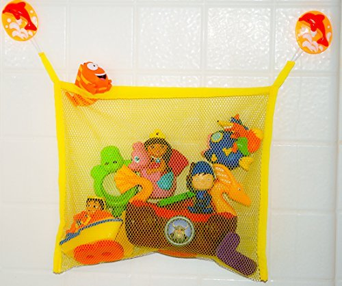 Auntie's Bath Toy Bag & Multi-Purpose Toy Organizer - Perfect for Bath Tubs, Cars, Bedrooms, Bathroom Mirrors - For Babies, Toddlers and Children of All Ages - Fun, Playful, Colorful Mesh Bag with Extra Large Suction Cups for Stronger Hold - Make Bath Time, Fun Time with this Quick Drying Mesh Toy Organizer with Dolphin Accents! - 1