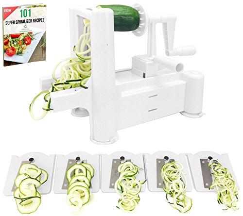 Spiralizer ProCuisine 5-lames avec un ebook de 101 Recettes, Coupe Légume et Fruits Spirale Julienne Cutter, un Faiseur de Spaghetti et de Nouilles