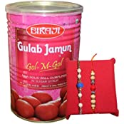 Handicrunch Fancy Blue Rakhi Combo Pack With Bikaji Tin Gulam Jamun 1.25 Kg