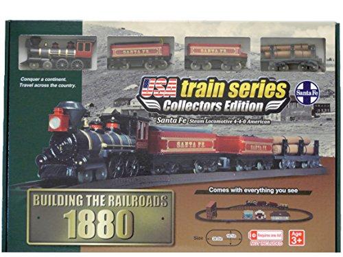 LEC-USA-1880-Santa-Fe-Steam-Locomotive-4-4-0-American-Battery-Operated-Train-Set