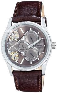 Fossil ME1020 - Reloj analógico manual para hombre con correa de piel, color marrón