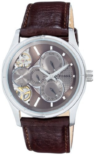 Fossil Gents Multifunction Twist Brown Leather Strap Watch