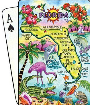 Florida Map Collectible Souvenir Playing Cards