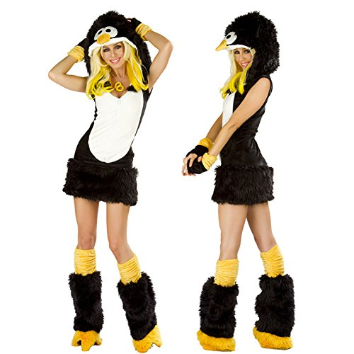 Follow518 Luxury Halloween Women Sexy Costume Nightclub Party Funny Plush Penguin Women Dress 5 Piece Girls Dance Suit Women Stage Costumes