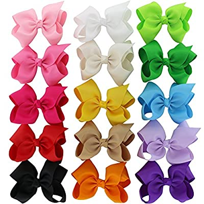 Chiffon 5in Large Hair Bows Clips Grosgrain Bows Ties Set Of 15 Colors