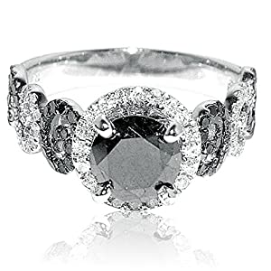 2ct Diamond Ring 1ct Black Diamond Solitaire With Black and White Side Diamonds White Gold