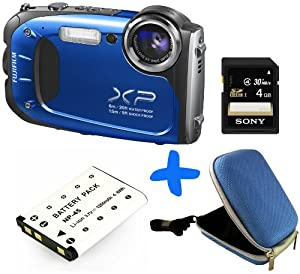 Bundle:Fuji Finepix XP60 Blue Digital Camera+ 4GB+Spare Battery+ Carry Case (16.4MP, 5x Optical Zoom, Waterproof to 20ft/6m, Shockproof to 5ft/1.5m)