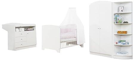 Pinolino 100090 - Kinderzimmer Jil, weiß, bestehend aus 2-turigem Kleiderschrank, Wickelkommode und Bett (ohne Textilien)
