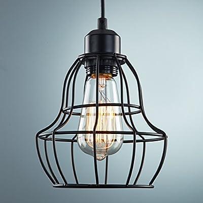 YOBO Lighting Minimalist 1-Light Oil Rubbed Bronze Hanging Pendant Light LOFT Wire Cage Guard